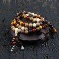 Sándalo de la mezcla de 108*8 MM/6 MM Budista Del Grano Oración Mala Pulsera Oración Budista Bead Bracelet & Bangle para Las Mujeres y Los Hombres