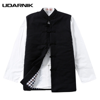Men Retro Chinese Style Winter Vests Solid Stand Collar Cotton Tanks Thick Tang Tops Plus Size M 4XL Waistcoats Warm 223 473