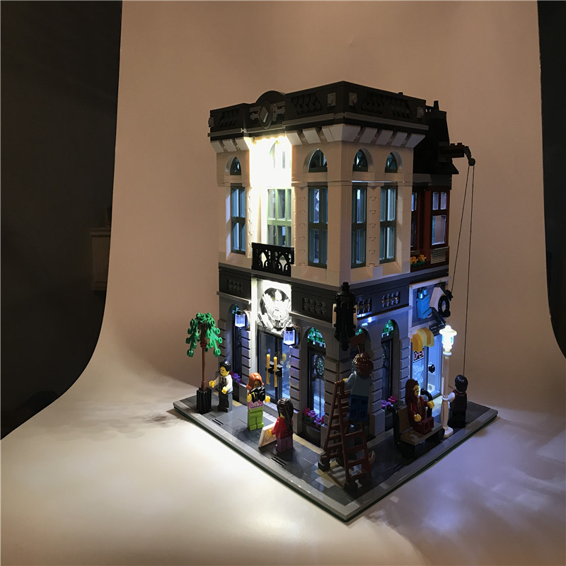 Led Light Set DIY For Lego Building City Street 10251 Bank Model House Toys Building Blocks Creator City Street Series 15001 a toy a dream lepin 15008 2462pcs city street creator green grocer model building kits blocks bricks compatible 10185