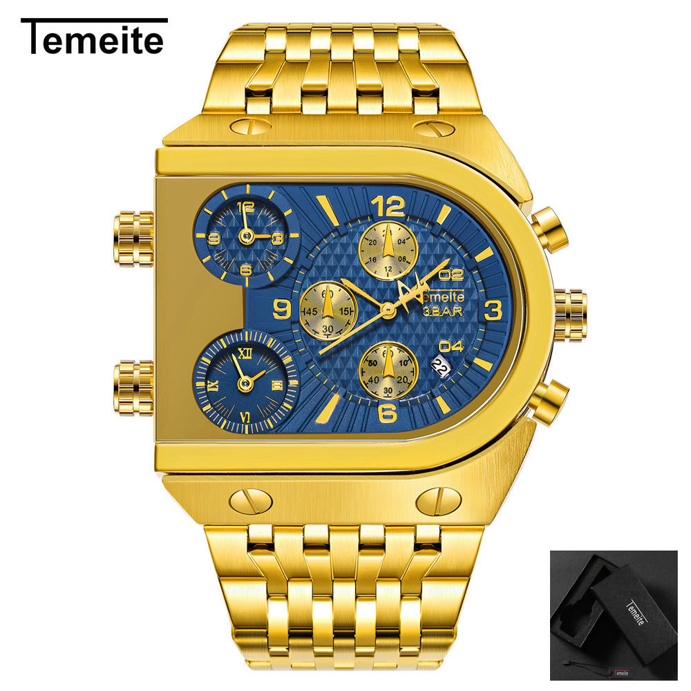 luxury gold mens watches Large dial stainless steel quartz man wristwatches military Three time zone Multifunction creativeluxury gold mens watches Large dial stainless steel quartz man wristwatches military Three time zone Multifunction creative