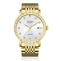 SOLLEN SL9007 watches men luxury brand japan MIYOTA movement automatic mechanical watch golden sappire diamond