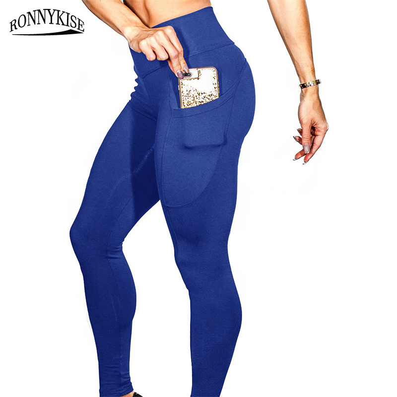 RONNYKISE High elastic Long Pants Women 39 s Fashion High Waist Pocket Slim Fit Fitness Gym Bodybuilding Pants in Pants amp Capris from Women 39 s Clothing