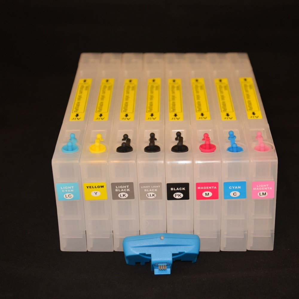 INK WAY T5631-T5639 T5621-T5629, 8 X Refillable Cartridges For EPSON Stylus Pro 7800 9800 Cartridges ,chip resetter FREE