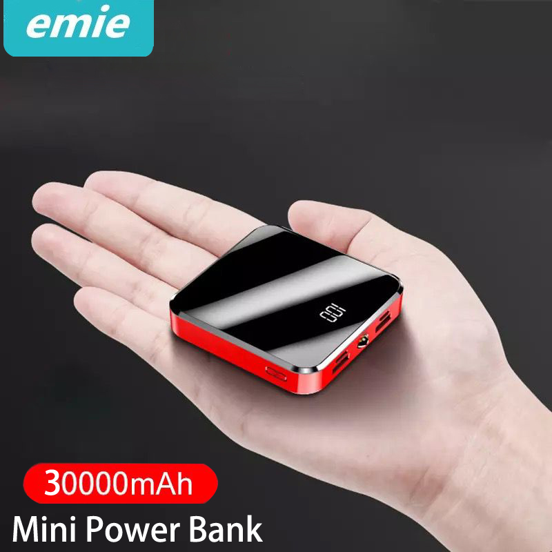 30000mAh Portable Mini Power Bank Mirror Screen Digital Disply Poverbank External Battery Pack Powerbank For Smart Mobile Phone