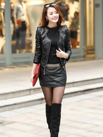 Leather Skirt And Leather Jacket-3031