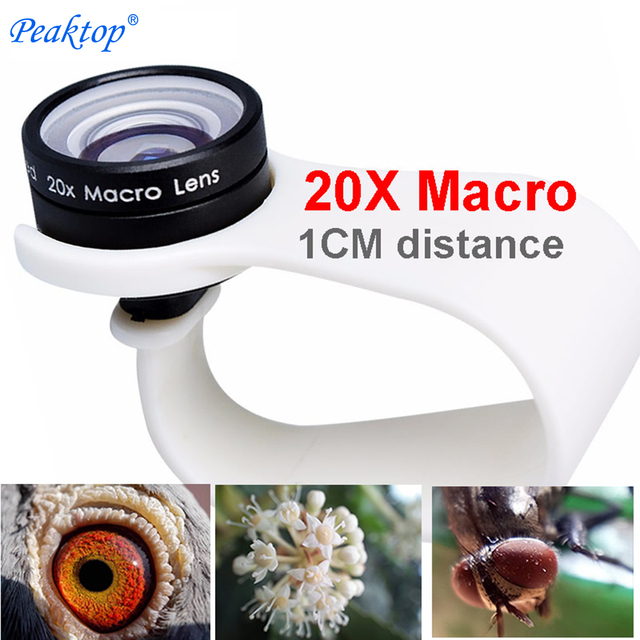 mobile phone Macro Lens 20X Super Cellphone Macro Lenses for Huawei xiaomi iphone 5 6 7 8 Samsung,only use 1cm distance.