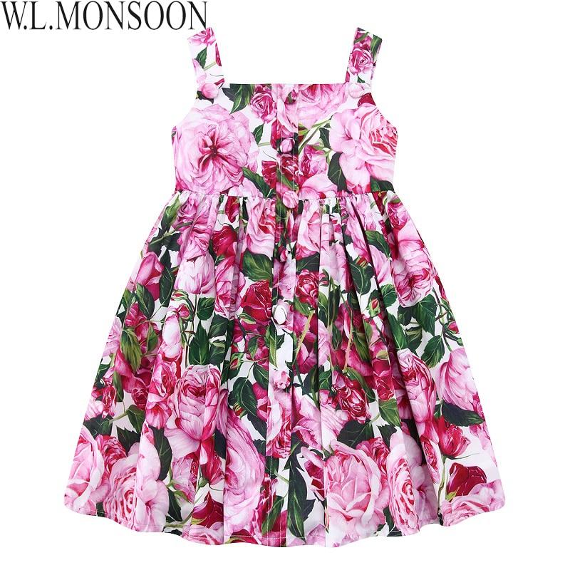 W.L.MONSOON Toddler Dress Girls Summer Clothes 2018 Brand Rose Flower Dress Princess Costume Robe Fille Kids Dresses for Girls