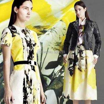 2018 Nouvelle Mode Senior 100% Soie Organza Imprimer Vêtements Tissu Rideaux Et Robe Sériciculture Bricolage Tissu Pour La Couture En Gros