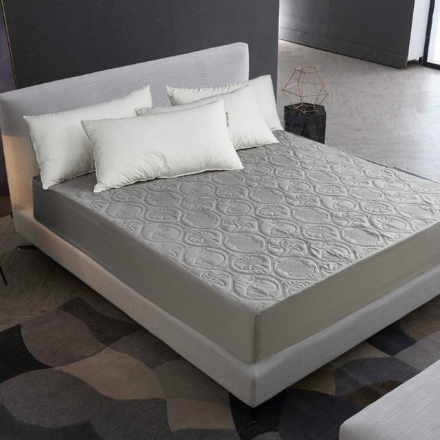 MECEROCK de Color sólido acolchado en relieve Protector de colchón resistente al agua funda de estilo de hoja ajustada para colchón almohadilla suave gruesa para cama