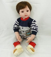 55CM holiday gifts simulation baby boy with cotton body and lovely clothes silicone reborn dolls toys