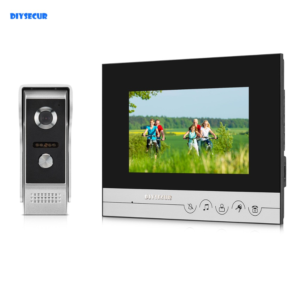 DIYSECUR 7inch Touch Button Video Intercom Video Door Phone 700TVLine IR Outdoor Camera For Home / Office Security System