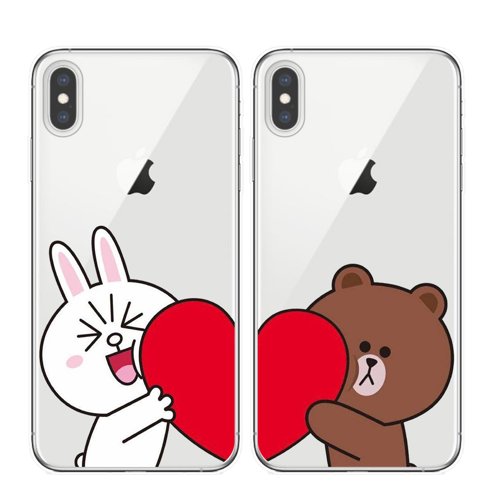Cartoon brown bear <font><b>Bunny</b></font> Cony soft TPU Clear silicone back cover for <font><b>iphone</b></font> 6 6s 7 8 plus X Xs Max XR <font><b>5S</b></font> Couples phone <font><b>cases</b></font> image