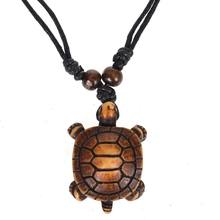 1PCS Styles Ethnic Tribal Faux Yak Bone Sea Turtle Pendants Necklace Resin Adjustable lucky black string necklace longevity(China)