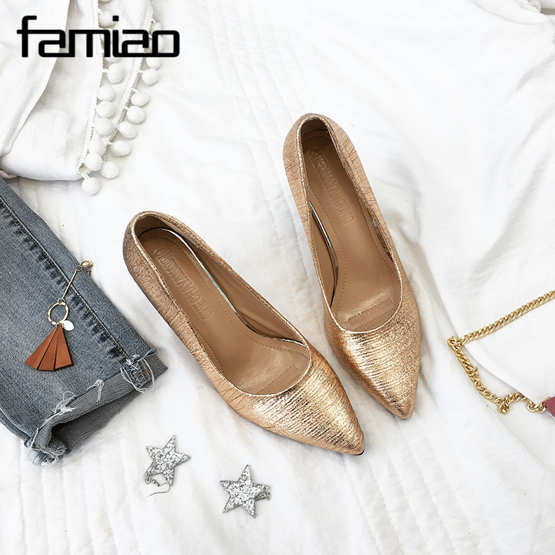 FAMIAOWomen Pumps Extrem Sexy High Heels Women Shoes Thin Heels Female Shoes Wedding Shoes Gold Sliver black Ladies Shoes