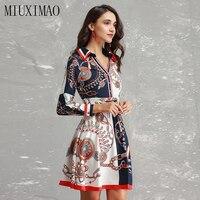 Best Quality 2018 Latest Fall Fashion Elegant V Neck Long Sleeve Print A Line Knee Length Vintage Dress Women