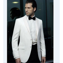 High Quality Two Button Ivory Groom Tuxedos Groomsmen Mens Wedding Prom Suits Bridegroom men suit 2017 (Jacket+Pants+Bow Tie)