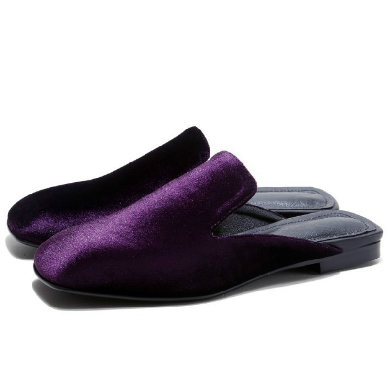 ФОТО brand design pig leather liner dark purple flock slingback flat shoes 2017 square toes fashion ladies spring summer shoe flats