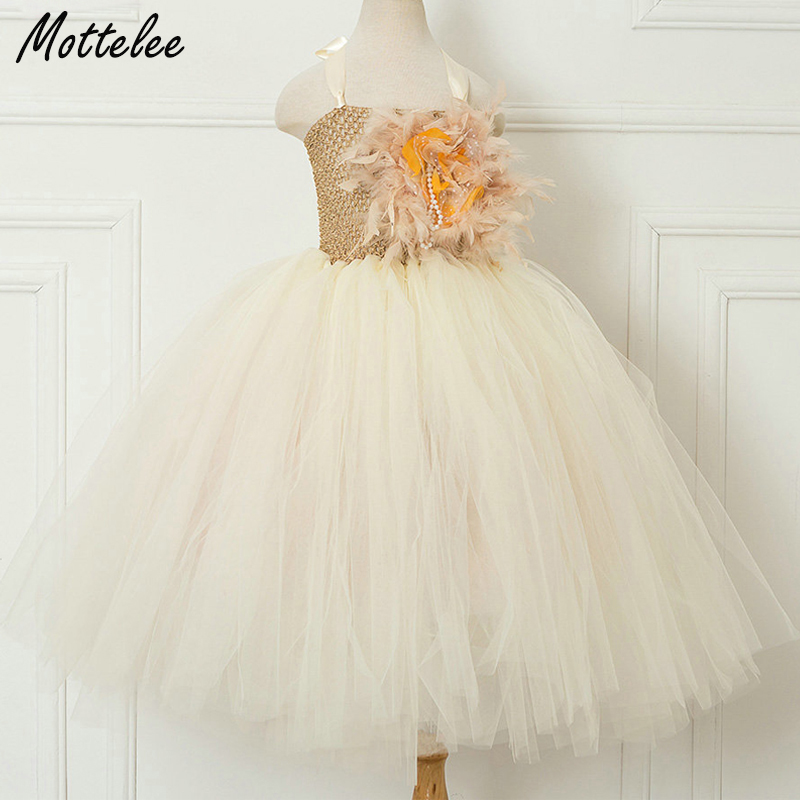 Mottelee Kids Girl Tulle Dress Flower Party Children Tutu Dresses Birthday Dance Baby Frock Pageant Girl Clothing for 2-10 Years mottelee girls princess dress blue kids party tutu dresses birthday summer baby outfits floral toddler frock children clothing