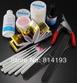 Pro Nail Art Tips Design Acrylic UV Gel Builder Topcoat Cleanser Brush Sanding Basic Kit Set