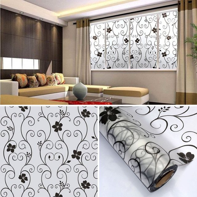 PVC Frosted Privacy Cover Glass Wall Sticker Window Door Black Flower  Stickers Film Adhesive Home Office