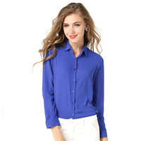 Summer Fashion Girl Chiffon Blouse Casual Long Sleeve Shirt Women Summer Clothing Blusas Tops 5 Color