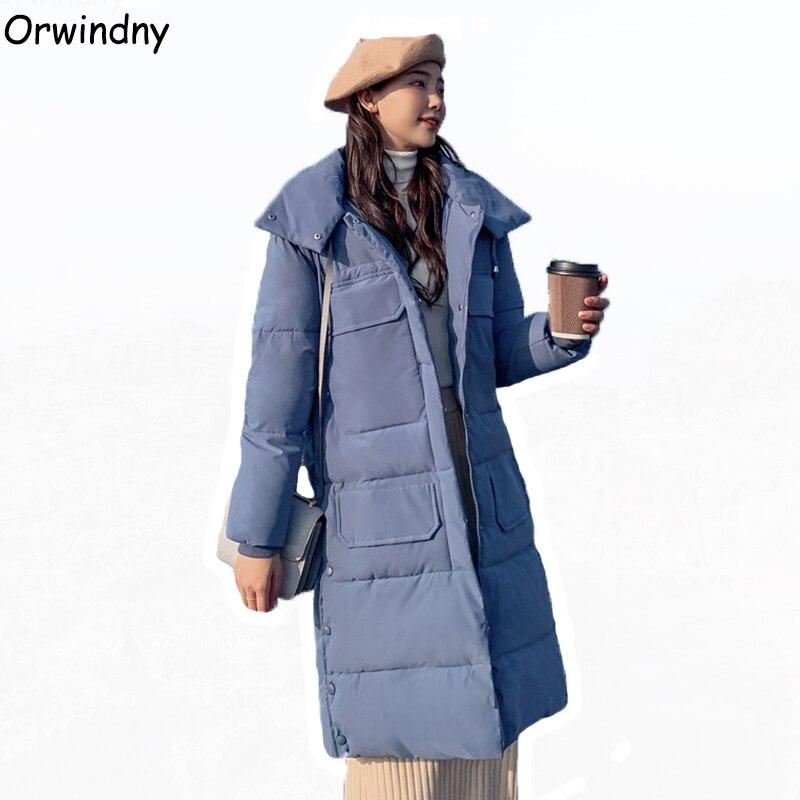 Orwindny Winter Women's Clothing 2019 Slim Hooded Long Winter   Parka   Female Plus Size S-3XL Wadded Jacket Down Cotton Padded Coat