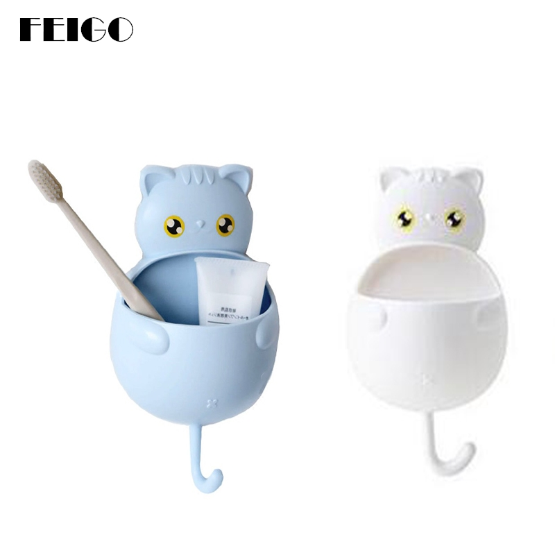 FEIGO Cuty Cat shaped Toothbrush Holder Wall Suction Buckle Hook Reusable Toothpaste Holder Bathroom Sucker Brush Container F139 image