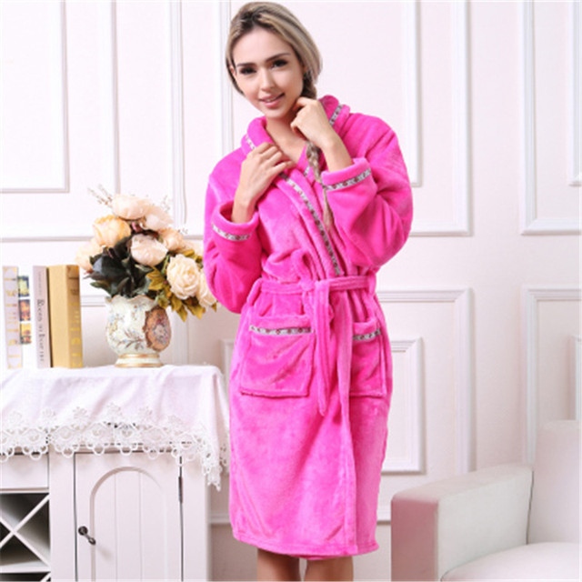 Autumn Winter Women Cotton Flannel Pajamas Couples Bathrobe Thickening Coral Sleece Warm Sleepwear Lovers Bath Robes LW405