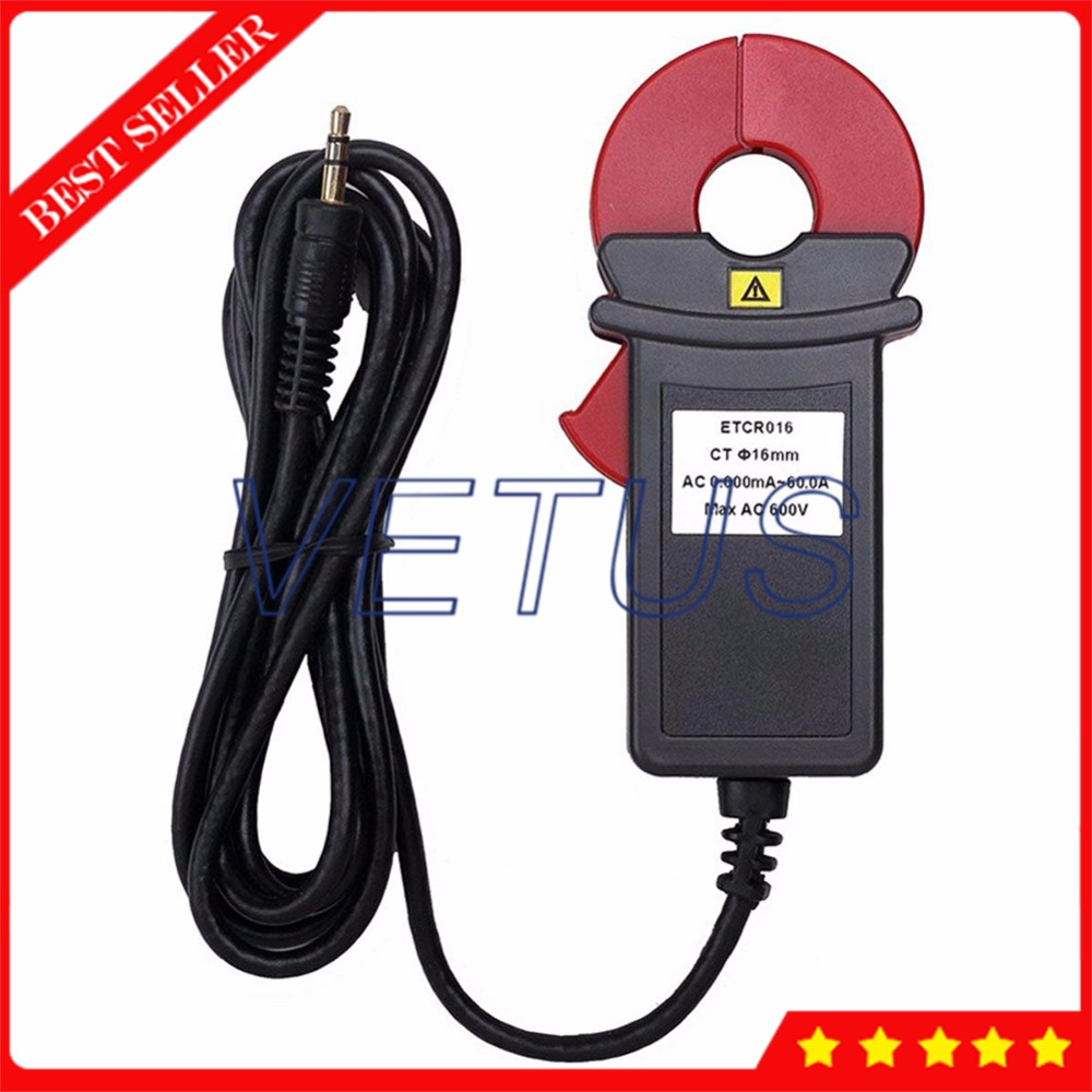 ETCR016 0mA~60.00A AC Leakage Current Tester Clamp Sensor of High Harmonic Current Measure Power Factor Detection zipabox power current clamp 35a