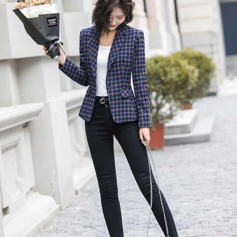 Lenshin Morbido e Confortevole di Alta qualità Giacca A Quadri con Pocket Office Lady casual di Stile Delle Donne della Giacca Sportiva di Usura Singolo Pulsante cappotto