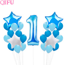 QIFU Children Balloons Birthday Balloons Party Baby 1st Birthday Number Фольклорні повітряні кулі Air Boy Girl First Birthday Party Decoration Kids