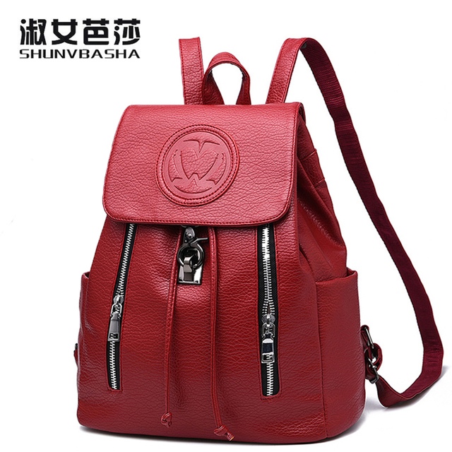 Women Backpack 2017New Tide Ladies Backpack Spring Summer New Embossed  Zipper Button Fashion Casual Korean Women 7911be6251