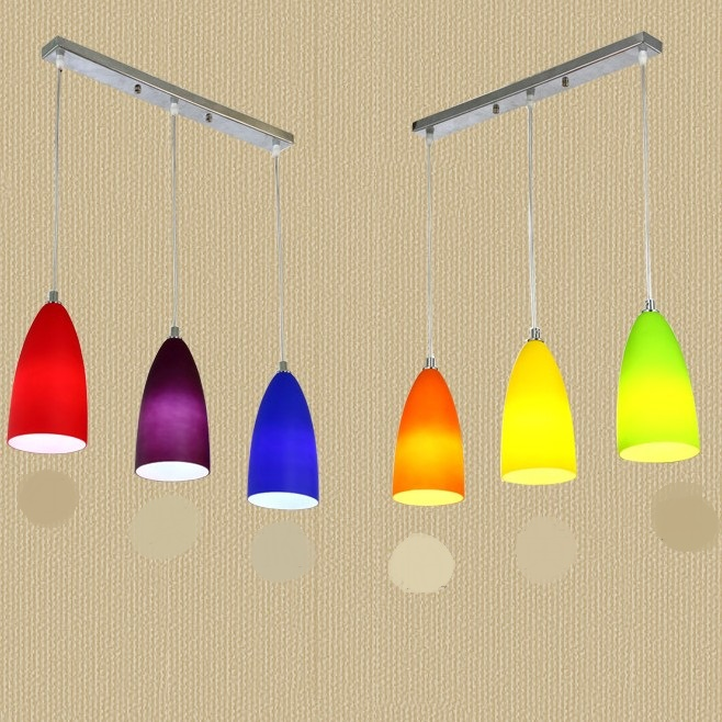 1/3 heads lamps colorful pendant lights restaurant round straight tube color glass single head milk tea shop lighting lamps glass dinner table  milk tea shop
