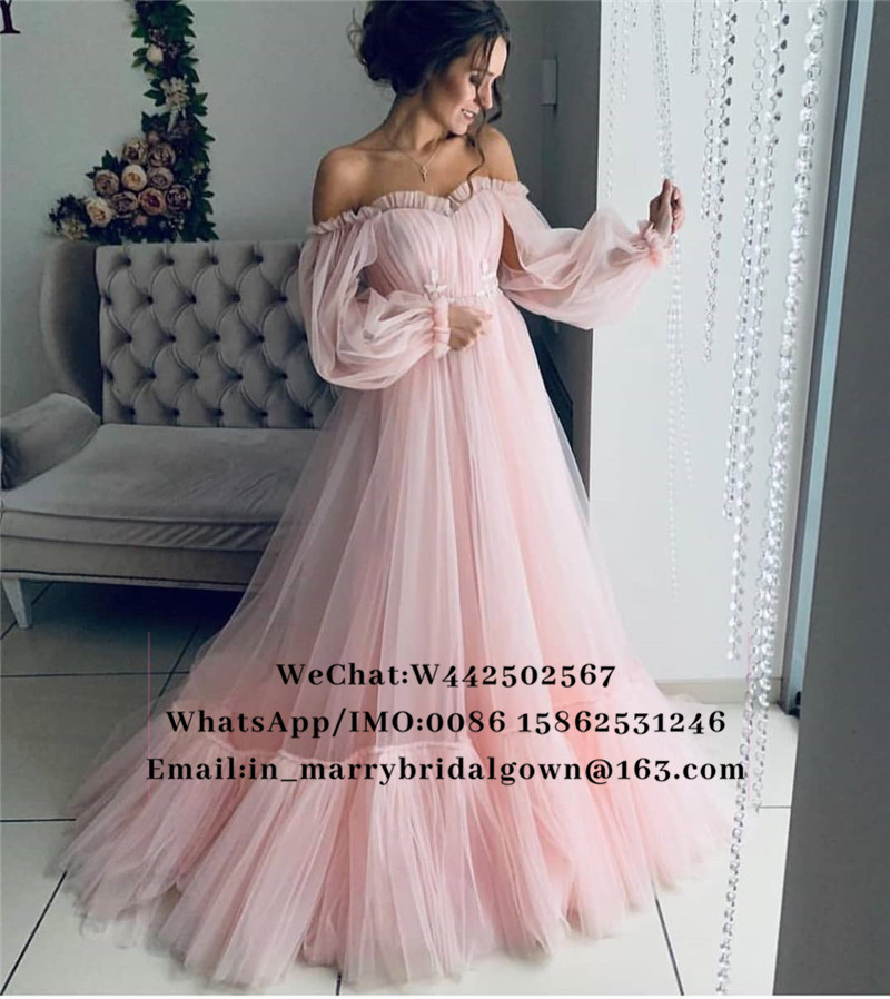 Pink Off Shoulder Arabic   Prom     Dresses   2019 A Line Long Sleeves Vintage Lace Appliques Cheap Girls Vestidos De Fiesta De Noche