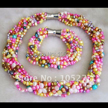 BRIDESMAID GIFTS,BEADED JEWELRY,MULTICOLOR FRESHWATER PEARL NECKLACE BRACELET FASHION JEWELRY SET FREE SHIPPING FN959