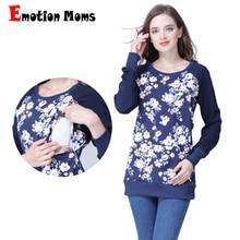Emotion Moms с длинным рукавом зимняя хлопчатобумажная одежда для беременных кормящих топ грудного вскармливания топы для беременных женщин Материнство футболка Новинка