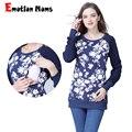 Emotion Moms с длинным рукавом зимняя хлопчатобумажная одежда для беременных блузка для кормления топы для беременных женщин футболки для берем...