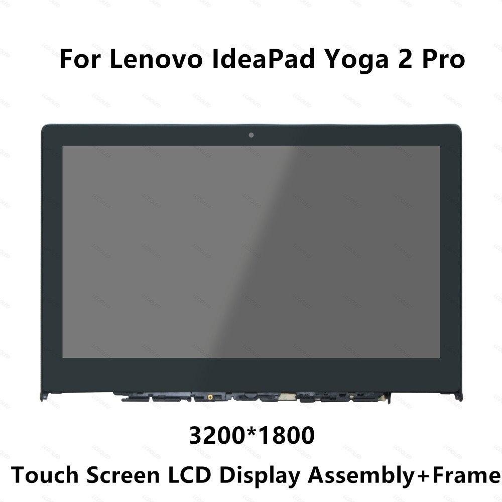 Pieno Display LCD del Pannello di Vetro Dello Schermo di Tocco Monitor Digitizer Assembly con Cornice Per Lenovo IdeaPad Yoga 2 Pro 20266 LTN133YL01