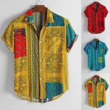 Camisas casuales holgadas de manga corta con cuello vuelto y estampado étnico Vintage para hombre 2019 Camisa ajustada para hombre