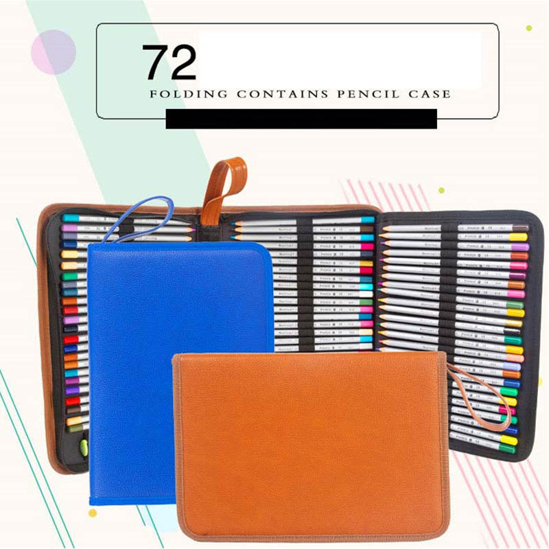 PU Leather School Pencil Case Large Capacity Art Marker Storage Pen Bag Box Pencilcase Stationery Supplies 72 Holders 3 Layers 2 layers 32 holders animal owl school pencil case big capacity colored marker pencil pen bag box for girls boys art supplie