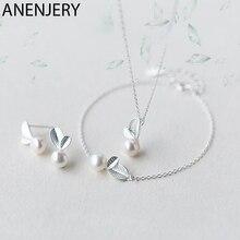 ANENJERY, 925 пробы, серебряные ювелирные наборы, бутон, лист, имитация жемчуга, ожерелье+ серьги+ браслет для женщин, корейские ювелирные изделия