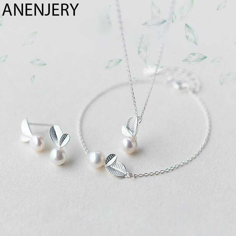 ANENJERY 925 Sterling Silver Jewelry Sets  Bud Leaf Simulated Pearl Necklace+Earrings+Bracelet For Women Korean Jewelry