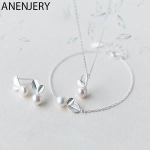 ANENJERY Earrings Bracelet Jewelry-Sets Pearl-Necklace 925-Sterling-Silver Korean Women