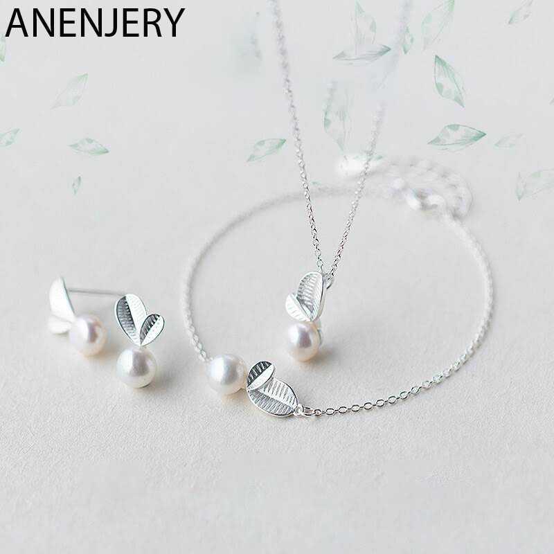 Anenjery 925 conjuntos de jóias de prata esterlina bud leaf simulado pérola colar + brincos pulseira para mulheres jóias coreanas