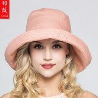 Kadın Yaz Pamuk Şapka 2018 Geniş Brim Disket Kova Şapka Moda UV Saçakları Kızlar Rahat Plaj Sunhat Düzeltilmiş B-7386