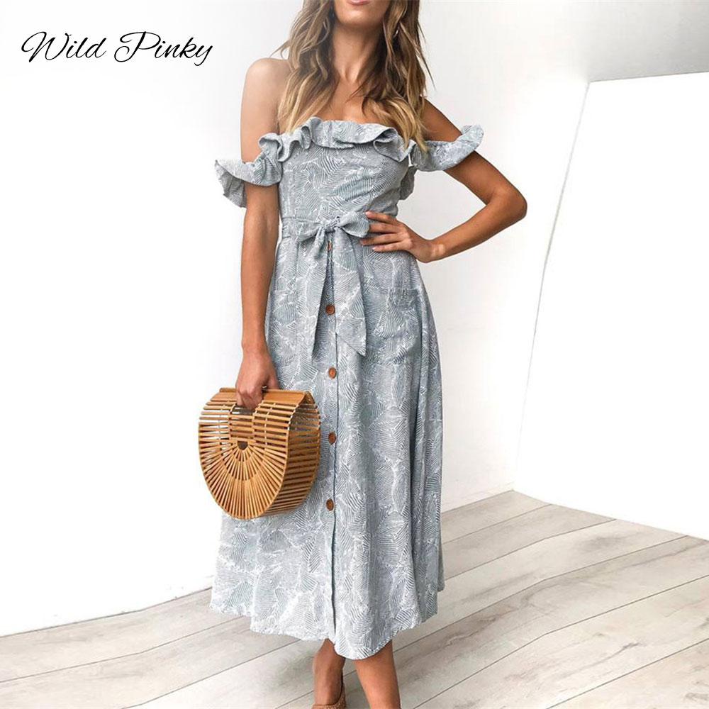 WildPinky 2019 New Women Boho Style Summer Dress Off Shoulder Ruffles Tie Up Vintage Print Midi Beach Vestidos