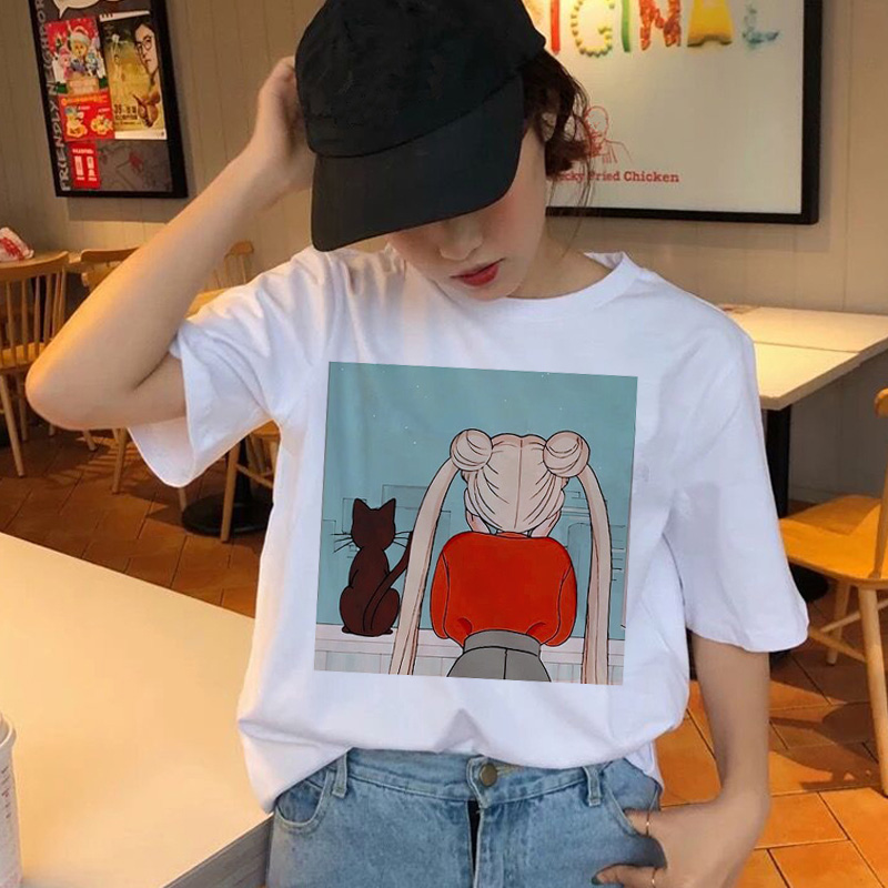 Sailor Moon T Shirt Female Kawaii Fashion Women Harajuku Tees Grunge Aesthetic Fun Ulzzang T-Shirt Cute Cat Tshirt Cartoon Top