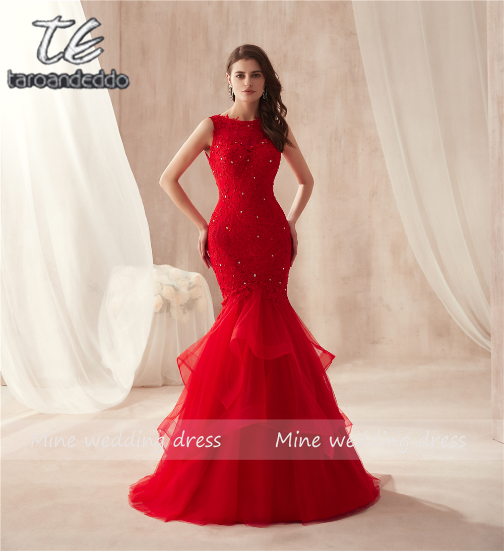Sleeveless Hot Red Mermaid Ruffled Skirt Tulle Prom Dress Lace Sexy Trumpet Long Party Formal Evening