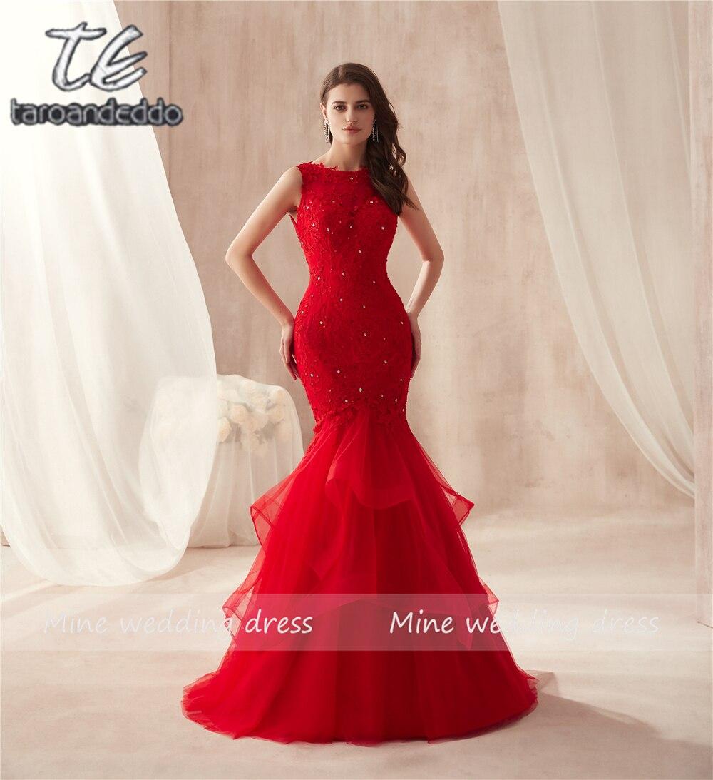 Sleeveless Hot Red Mermaid Rüschen Rock Tüll Prom Kleid Spitze Sexy Trompete Lange Partei Formal Abendkleid vestido formatura