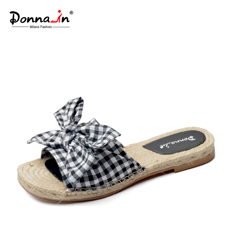 Donna-in fashion women slippers bow-knot flowers flats natural rope insole outdoor beach check gingham ladies shoes for summer knot front gingham top